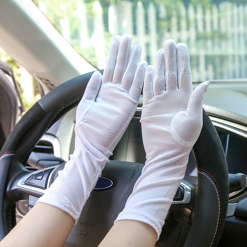 Driving Sunscreen Women Gloves Embroidered Summer Five Finger Gloves Cycling Elastic Spandex Gloves Medium Style High Quality
