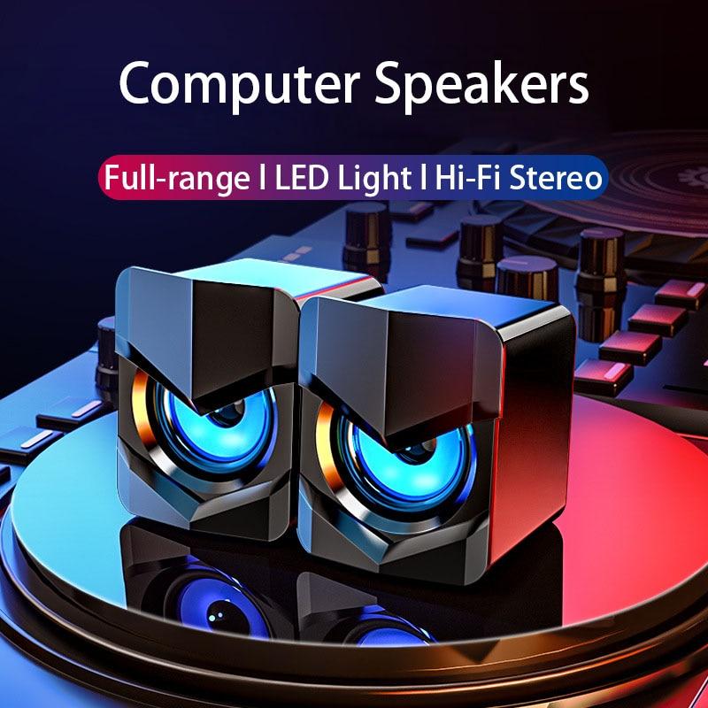 LED USB Computer Speakers Pc Speaker for Desktop AUX Wired parlantes caixa de som para pc altavoces ordenador haut parleur 2021