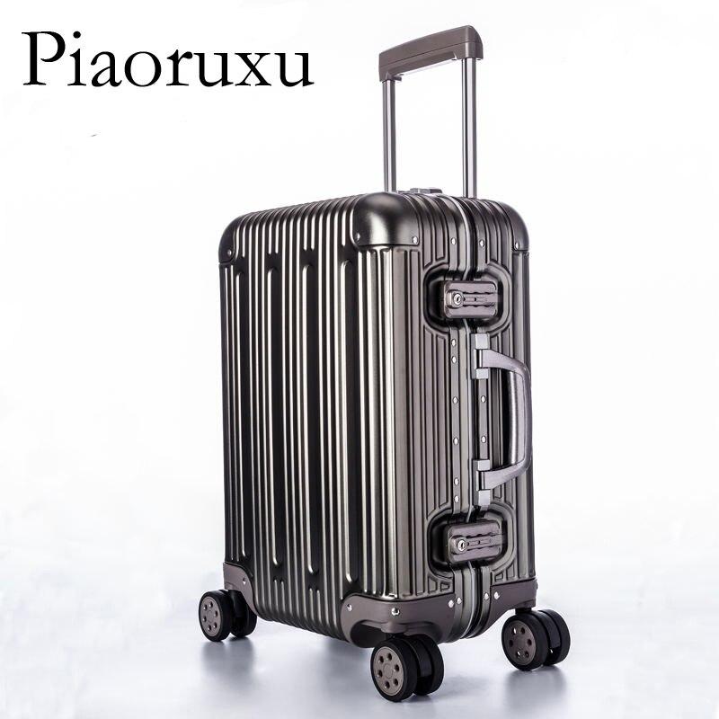 Image 4 - 100% багаж из алюминиевого сплава в твердом переплете, тележка для багажа, Дорожный чемодан 20, багаж 26, 29 дюймов, багаж в клеткуЧемодан на колесиках    АлиЭкспресс