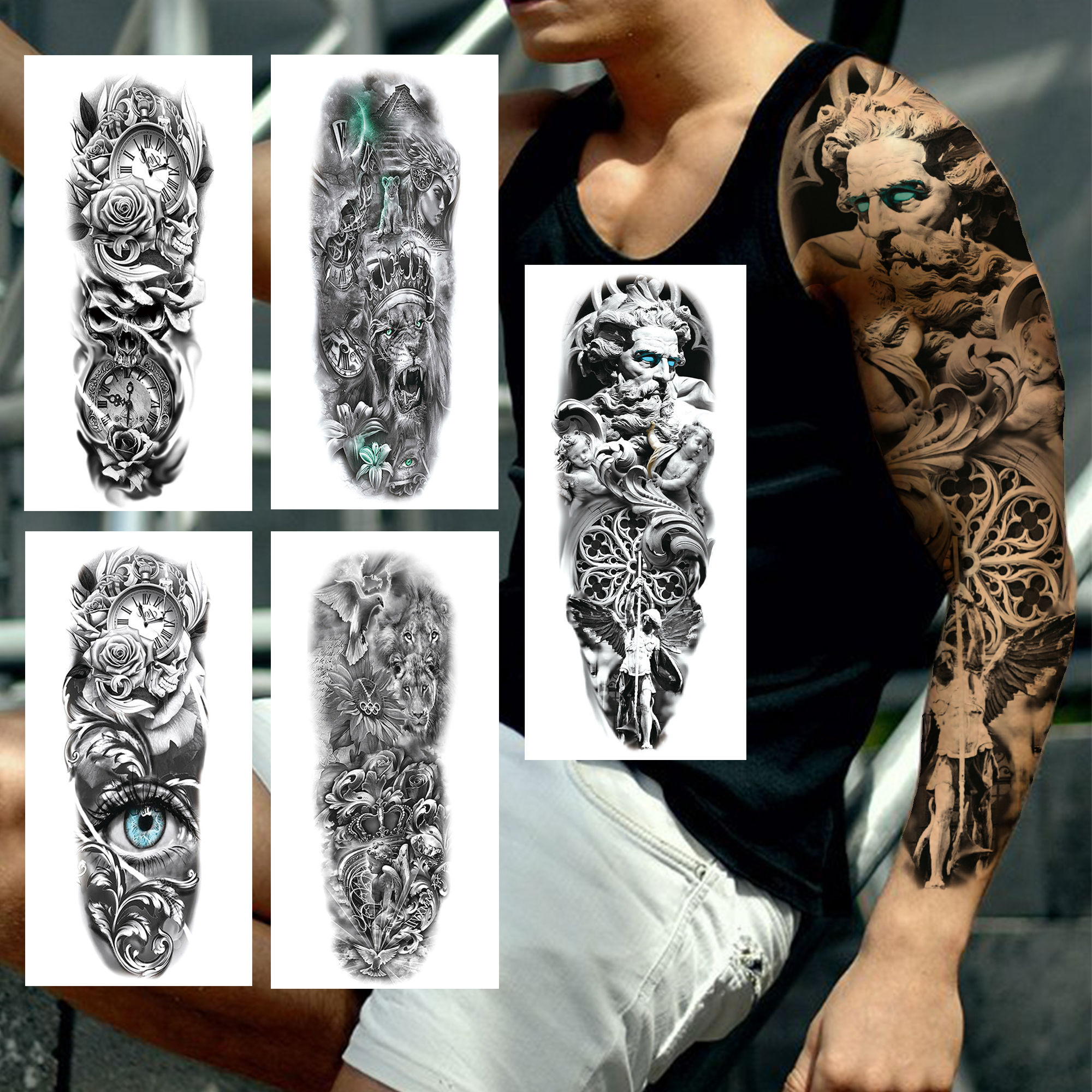 3D Christ Angel Temporary Tattoos Sleeve For Men Women Realistic Lion Compass Rose Eye Fake Tatoos Full Arm Large Tattoo Sticker