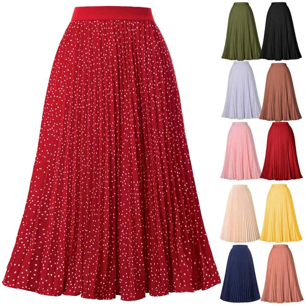 Grace Karin Women Casual Elastic High Waist Pleated A-Line Skirt 70%Rayon 2020 Autumn Winter New Fashion Flared Swing Midi Skirt