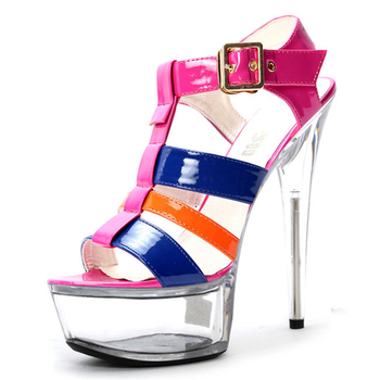 Patchwork color 15cm super high heels stiletto crystal shoes with stage performance 17cm model club shoes