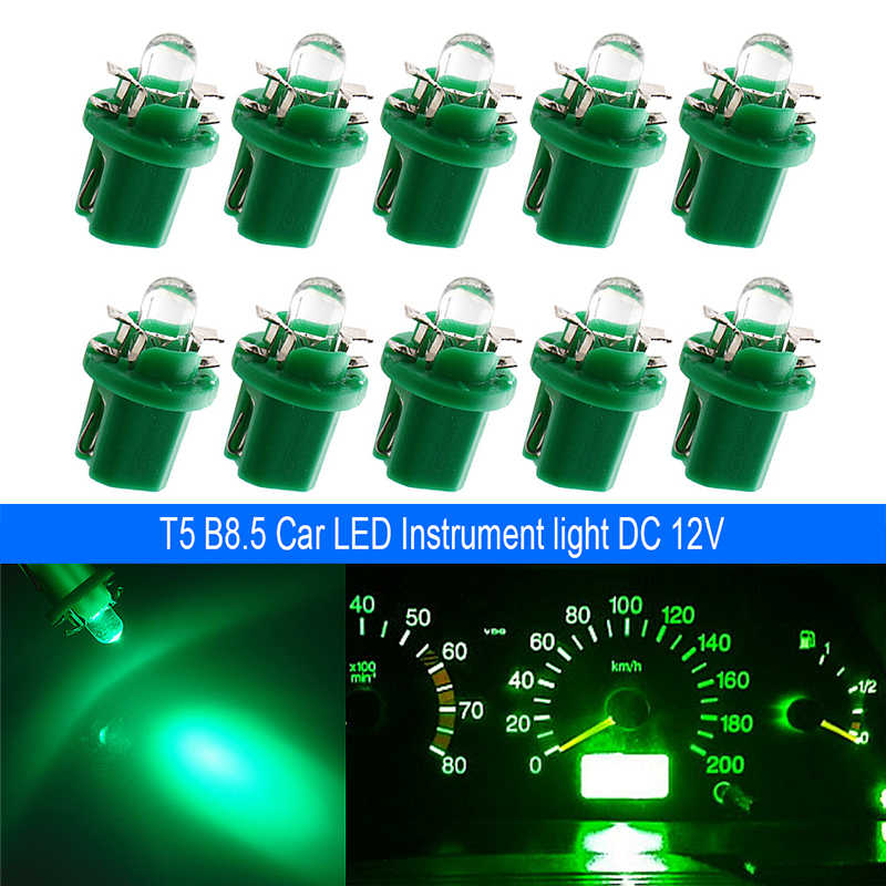 10X T5 B8.5 LED Mobil LED Lampu Interior Dashboard Mengukur Instrumen Auto Sisi Wedge Light Bulb 12V