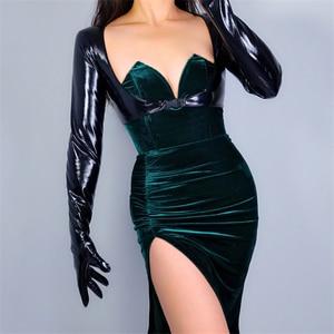 Image 2 - 2020 新ラテックスボレロ手袋輝き革フェイクパテントブラックトップジャケットすくめ女性ロング革手袋 WPU205 クロップ
