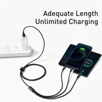 Baseus 3 in 1 USB C Cable for iPhone 12 X 11 Pro Max Fast Charger for Xiaomi Red mi note 9 Samsung S20 Micro Type C USB Cable