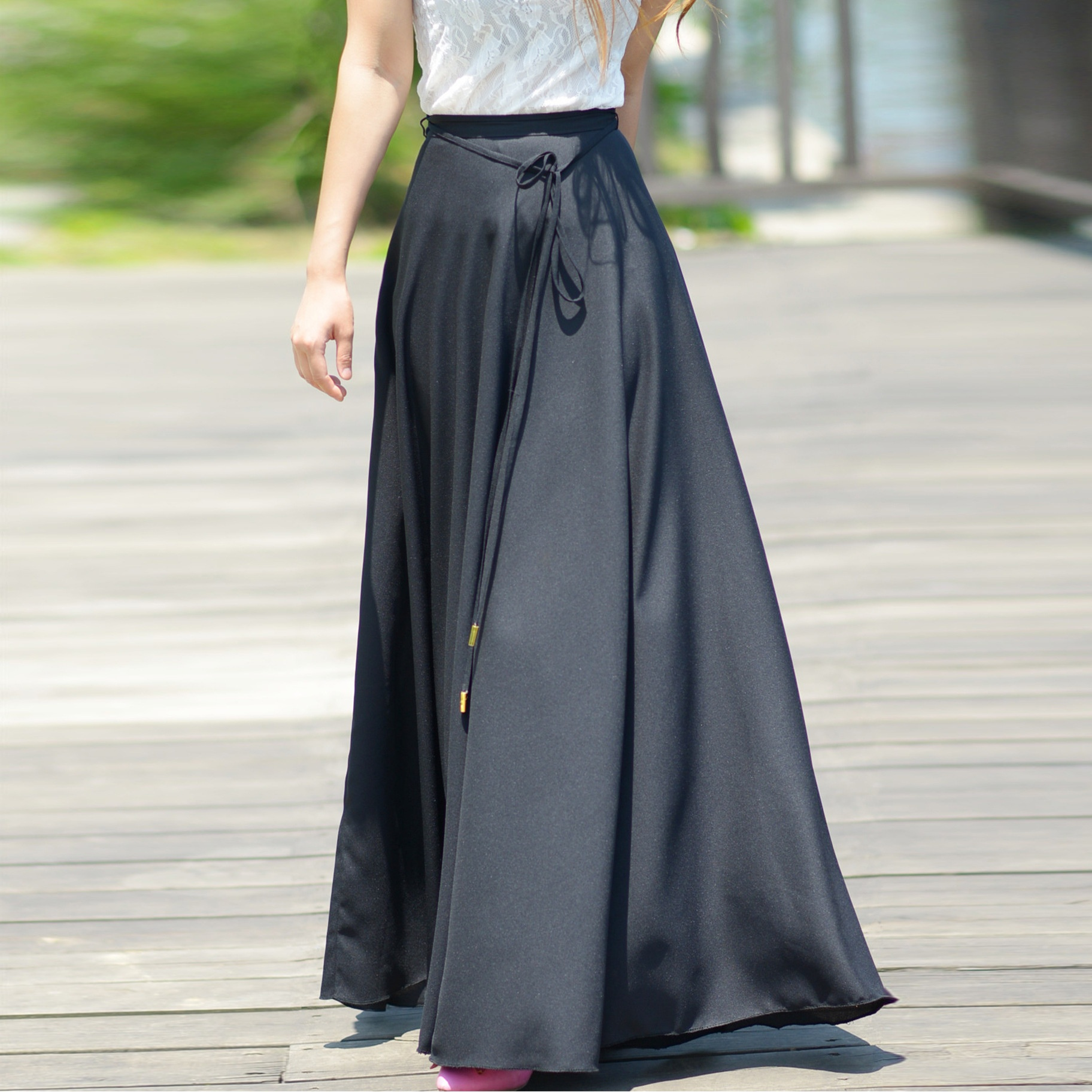 Womens Thick Chiffon Retro Long Maxi Skirt Vintage Spring Summer Autumn All-Match High-quality Maxi Large Pendulum Skirt