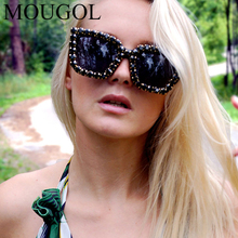 MOUGOL 2019 new European and American popular box diamond sunglasses female luxury fashion exaggerated retro UV400