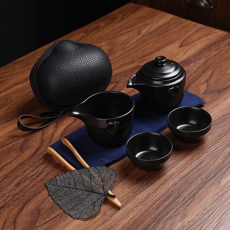 Tea Set Gaiwan Black Crockery Ceramic Teapot Teacups A Tea Sets Portable Travel Tea Sets With Travel Bag C26
