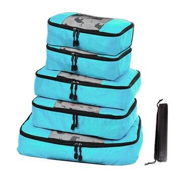 Rantion 3/4/5packs Travel Organizer Set with Shoe Bag, Luggage Suitcase Storage Bag Waterproof Nylon Zipper Handy Packing Cubes