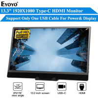 """EYOYO EM13R Portable Monitor 13.3"""" LED USB Type C Hdmi gaming monitor ips HDR 1080p FHD display for PS4 Laptop Phone Xbox Switch"""