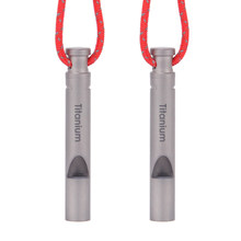 Sifflet d'urgence en titane avec cordon, outil multifonction EDC, sifflet de survie en plein air, Camping, randonnée, 2 pièces