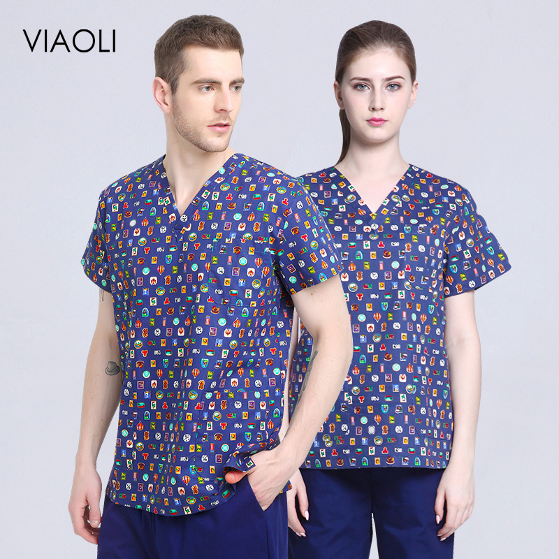 Print Pink Printing Surgery Clothes V-neck Short Sleeve Surgical Clothing Women Doctor Wash Medical Uniforms Top High Quality