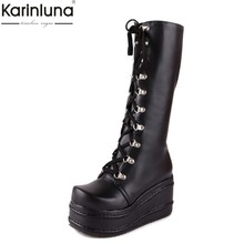 KarinLuna Große größe 31-49 mode punk cosplay stiefel frau schuhe plattform winter keil Schuhe frauen high heel knie hohe stiefel(China)