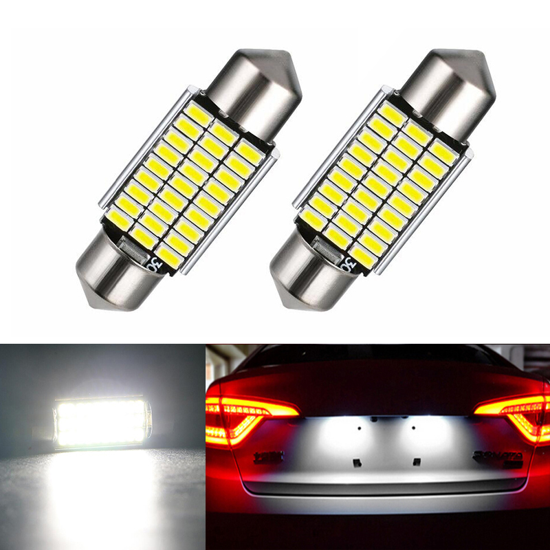 2x <font><b>LED</b></font> 36mm Canbus C5W Bulbs <font><b>Interior</b></font> Lights License Plate Light For <font><b>BMW</b></font> E46 E90 E92 E39 E53 <font><b>E60</b></font> E71 Mini Cooper image