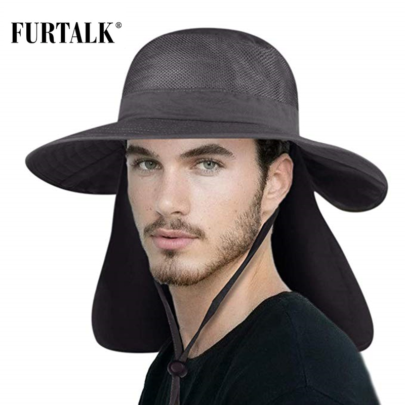 FURTALK Summer Sun Hat For Men Women Wide Brim UV Sun Protection Safari Hat With Neck Flap Outdoor Fishing Hiking Camping Cap