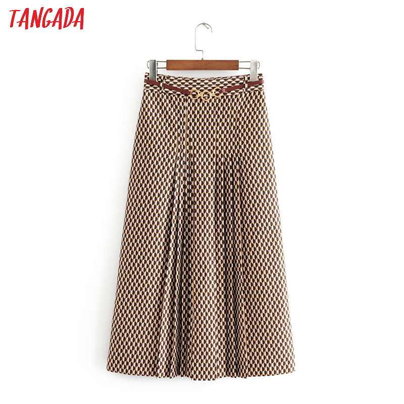 Tangada Fashion Women Geometric Print Midi Skirt For Work Vintage Elegant Office Ladies Skirts With Belt 3H144