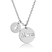 Stainless Steel Mom With A Son Kid Circle Pendant Family Love Necklace Mommy Mum Mother's Day Birthday Party Xmas Gifts Charm(China)