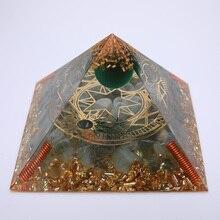 3.74inch Reiki Orgonite Pyramid Fluorite Energy Crystal Orgone Pyramid For Meditation Healing Energy Balancing Generator Decor