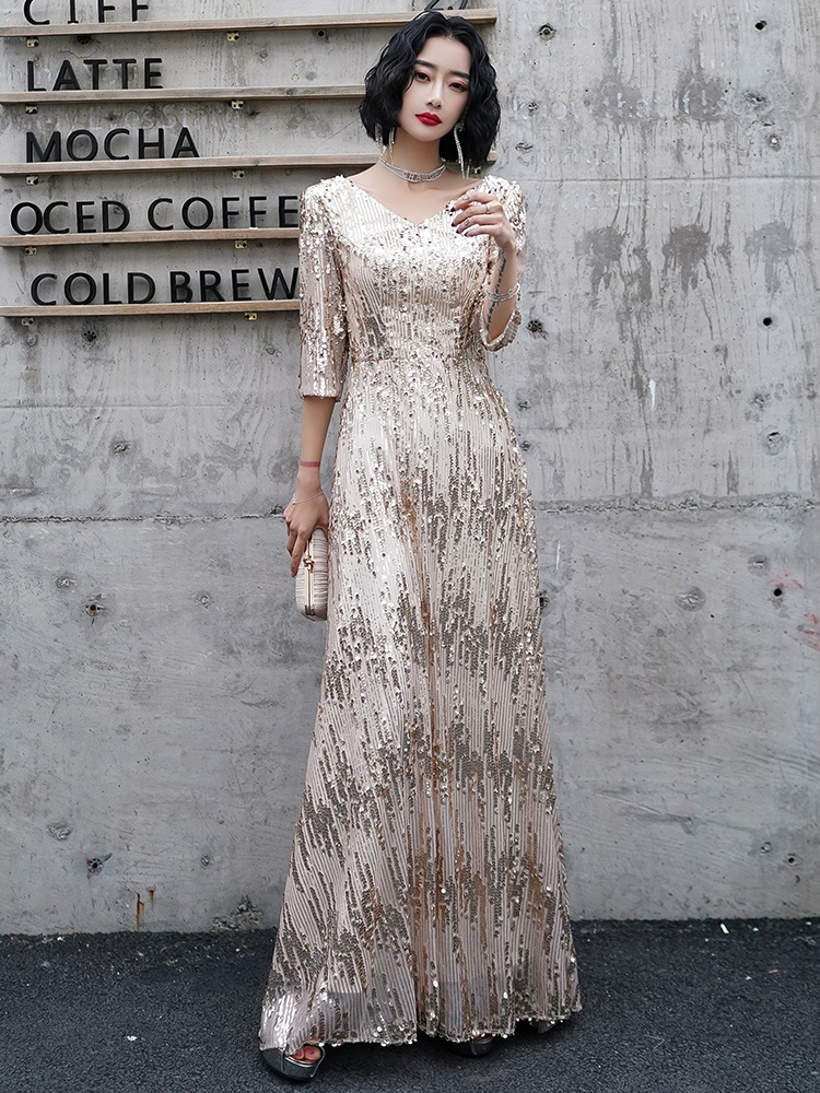 AE752 Gold Champagne Sparkle Evening Dresses Long Sequined A-Line V-Neck 3/4 Sleeves Formal Dresses Robe De Soiree