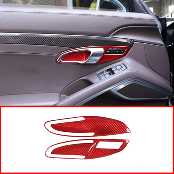 2 Pcs Red Real Carbon Fiber For Porsche 911 718 2012-2018 Car Interior Door Handle Frame Cover Trim Accessories image