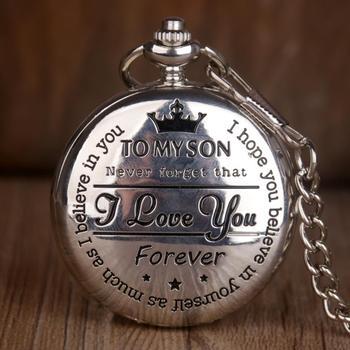 Srebrny Vintage To My Son Design zegarki kieszonkowe kwarcowe luksusowy naszyjnik zegarki kieszonkowe dla mężczyzn damskie chłopięce prezenty tanie i dobre opinie SHUHANG Mechaniczna Ręka Wiatr STAINLESS STEEL ROUND ANALOG Stacjonarne Z tworzywa sztucznego Unisex Kieszonkowy zegarki kieszonkowe