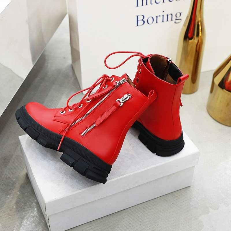 EGONERY winter stiefel kühlen punk rot weiß beige schwarz runde kappe lace-up frauen wohnungen schuhe mode stiefeletten stiefel 34-43 größe