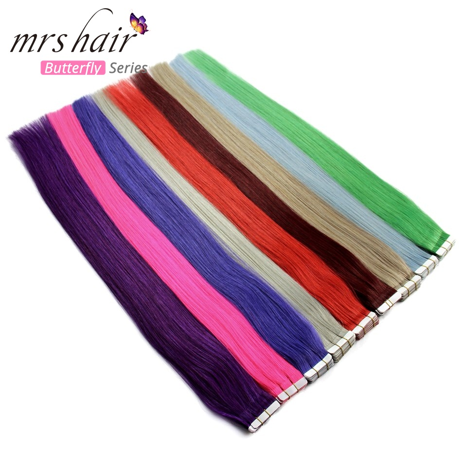 MRSHAIR Colorful Tape In Human Hair On Adhesives Double Sided Skin Weft Pu Hair No Remy Red Purple Blue Pink Silver