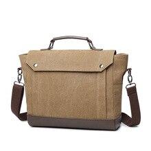 Vintage Canvas Men Briefcase Bag Large Capacity Laptop Bag Shoulder Bag Office Handbag Business Bag