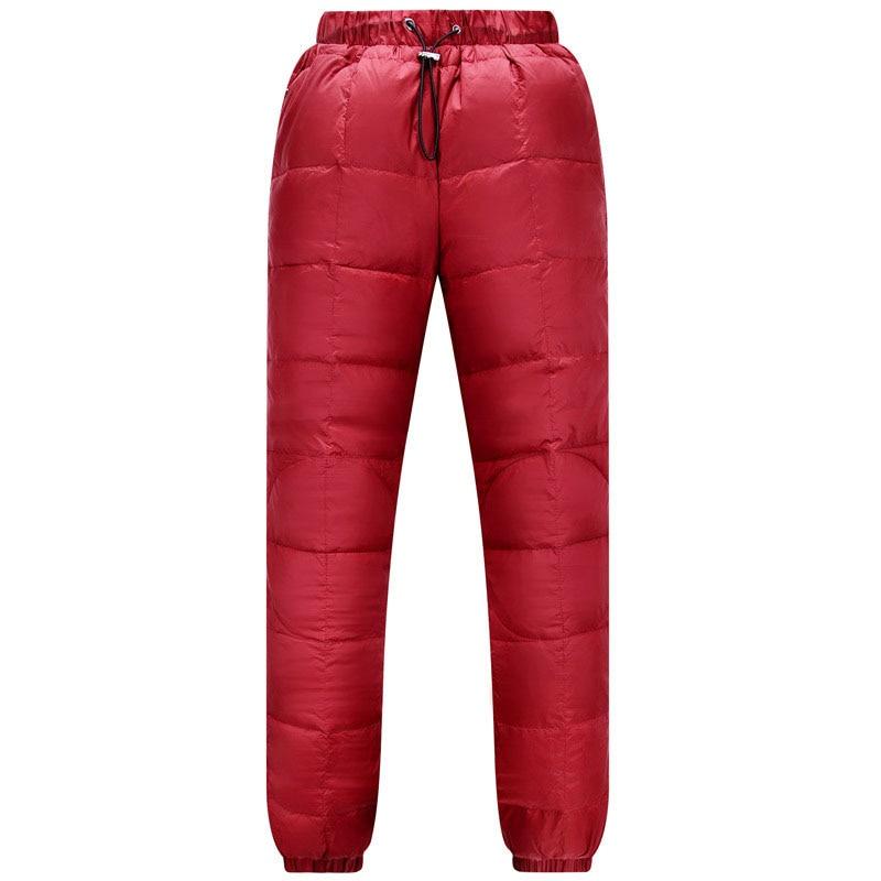 New Hot Sale Women Outdoor Warm Elasticity Down Pants Winter Windproof Waterproof Ski Pants Camping Hiking Trekking Trousers