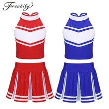 Детская школьная форма для Черлидинга для девочек, топы без рукавов, плиссированная юбка, комплект, детский сценический джазовый танцевальный костюм