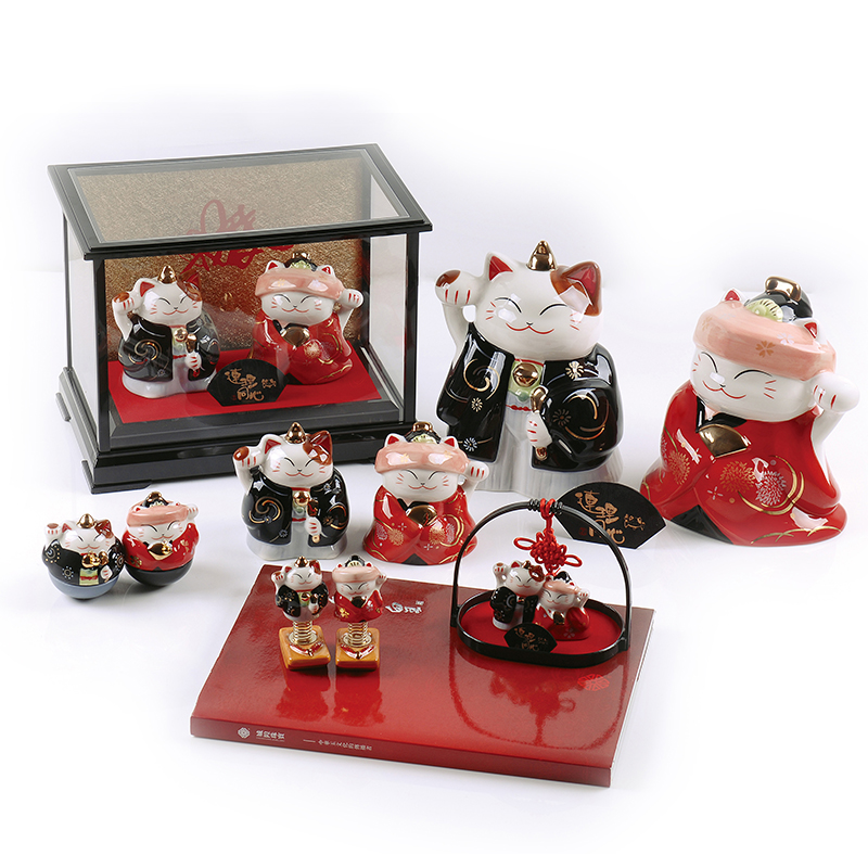 Lucky cat small gift box tumbler wedding gift home ceramic gift for girlfriend valentine day gifts