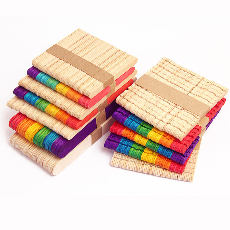 High Quality 50pcs Colored Wood Craft Sticks Wooden Ice Cream Sticks Kids DIY Hand Crafts Lolly Cake Tools