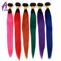 Ombre Brazilian Straight Hair Bundles Alimice Human Hair Weave Bundles 3/4 pcs Colored Remy Hair blonde/pink/orange/burgundy