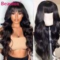 Beaufox, волнистые человеческие волосы, парики с челкой, малазийские, Remy, человеческие волосы, парики для женщин, полностью машинное изготовлен...