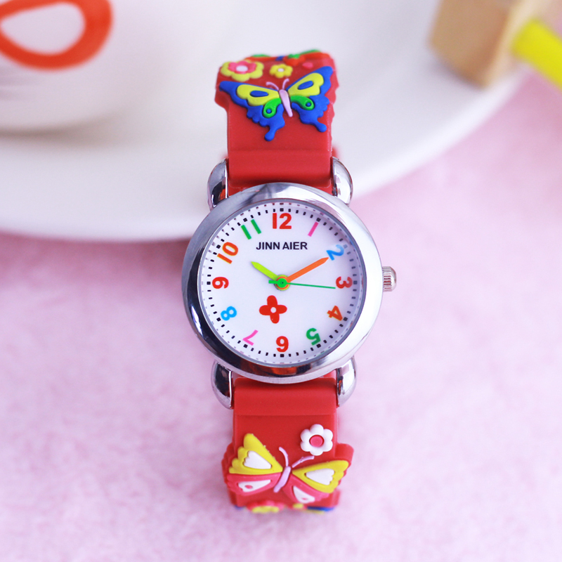 New Style Children Girls Cute Flowers Butterfly Silicone Strap Quartz Watches Beauty Girls Bracelet Colorful Digital Watches