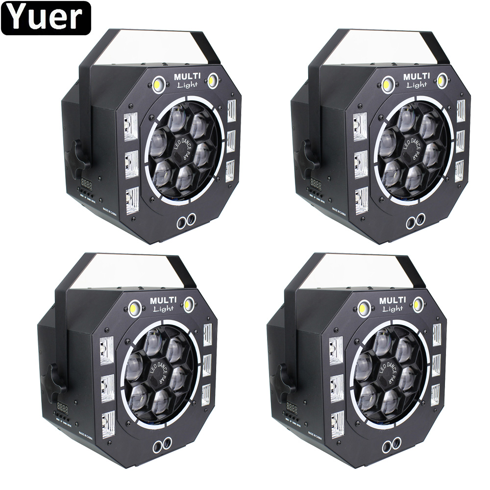 4Pcs/Lot Multifunction Disco Ball Color Music 4IN1 Stage Effect Lighting DMX512 DJ Disco Light Flishing Dance Club Party Music