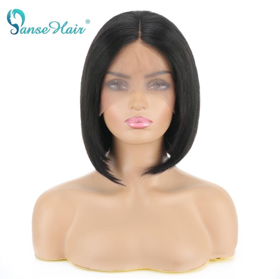 Panse Haair Malaysian Straight Bob Human Hair Wigs13X4 Lace Frontal Short Bob Wig  Lace Frontal Human Hair Wigs Natural color