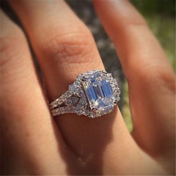 Женское кольцо из настоящего белого золота с квадратными бриллиантами, 14 к