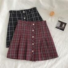 2019 korean pop New streetwear wild vintage plus size saia womens harajuku chic plaid mini short skirt 0223-30