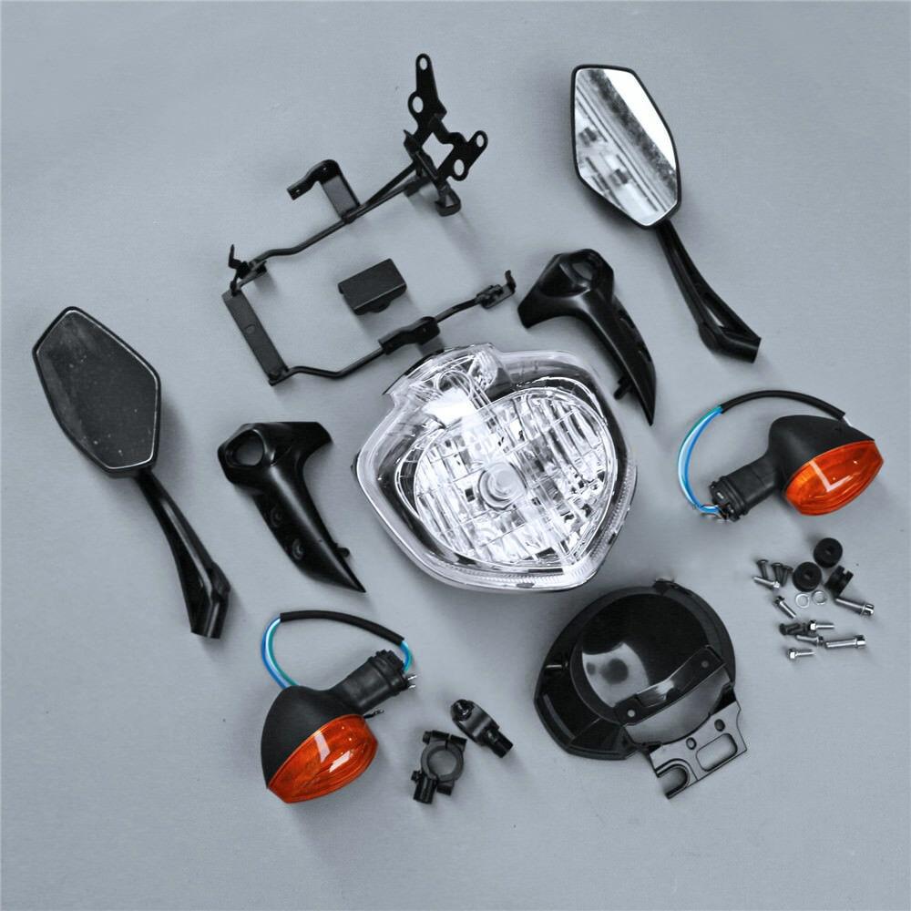 For Yamaha FZ6N FZ6S 2004 2005 2006 FZ6 N/S Motorcycle Head Light Lamp Headlight Assembly Turn Signals Rear View Mirrors Kit Set