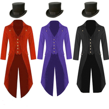 Plus Size 5XL Mens Steampunk Costume Vintage Tailcoat Jacket Gothic Magician Ringmaster Coat With Magic Hat