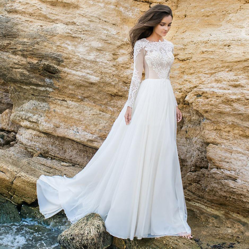 Lace Wedding Dress 2020 Long Sleeve Sexy Party Dress Vestido De Novia White/Lvory Bride Dresses Chiffon Elegant Wedding Gowns