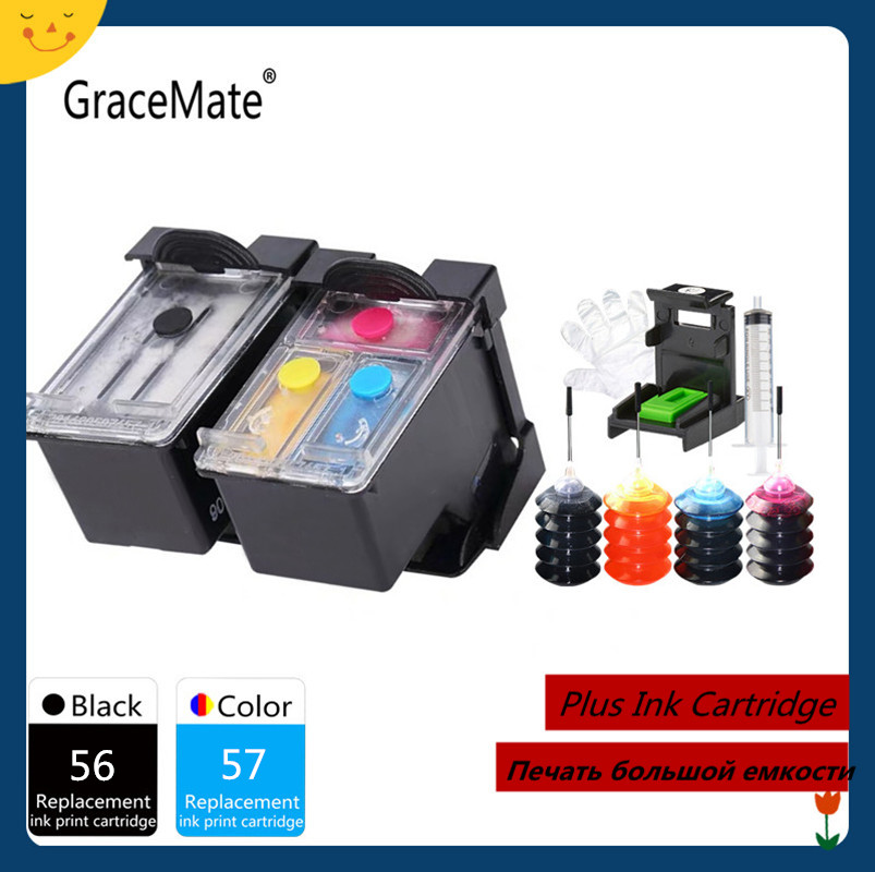 GraceMate Compatible 56 57 Refillable Ink <font><b>Cartridge</b></font> for <font><b>HP</b></font> Deskjet 450 450cbi 450ci 450wbt F4140 F4180 5150 <font><b>5550</b></font> image