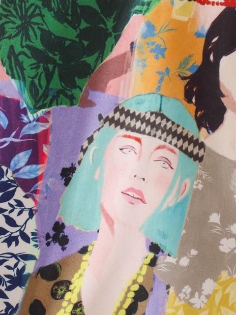CS957 Summer Stylish Notched Neck Short Sleeve Character Print Blouse Colorful Shirts Blusas Women Clothing 6