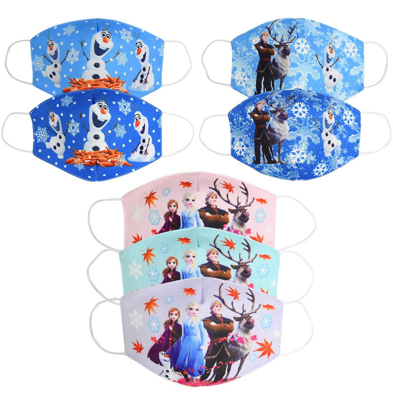 3Pcs Face Masks For Kids Adult Cotton Cartoon Unisex Pollution Baby Face Mask For Adult Washable Reusable Kids Facemask Frozen 2