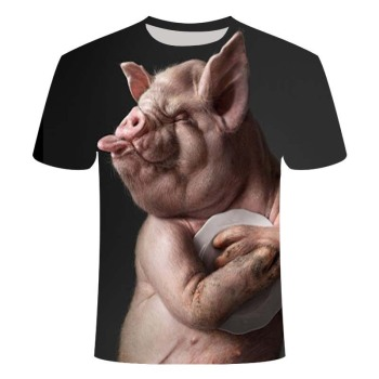 Fun novel animal pig lion dog orangutan tiger series T-shirt 3D printed for men and women Harajuku style