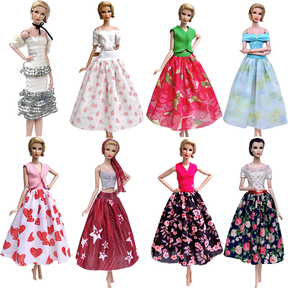 NK Mix Newest Doll Dress  Model Skirt Handmade Party ClothesTop Fashion Dress For Barbie Doll Accessories Toys Girls' Gift JJ