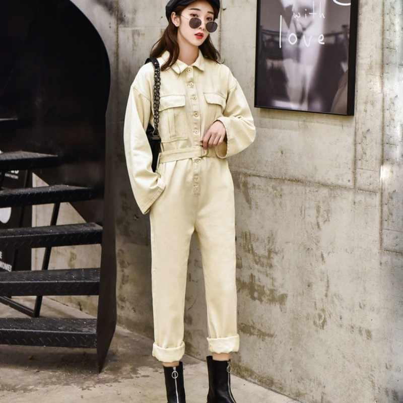 Streetwear Denim Jumpsuit Vrouwen Lange Mouwen Lichtblauw Losse Overalls Mode 2020 Enkele Breasted Vintage Cowgirl Jumpsuit S-XL