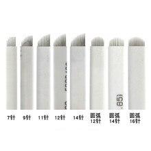 50 pçs microblading 7 9 11 12 14 u forma permanente maquiagem sobrancelha flex tatuagem agulhas para 3d lamina lâmina agulhas tebori