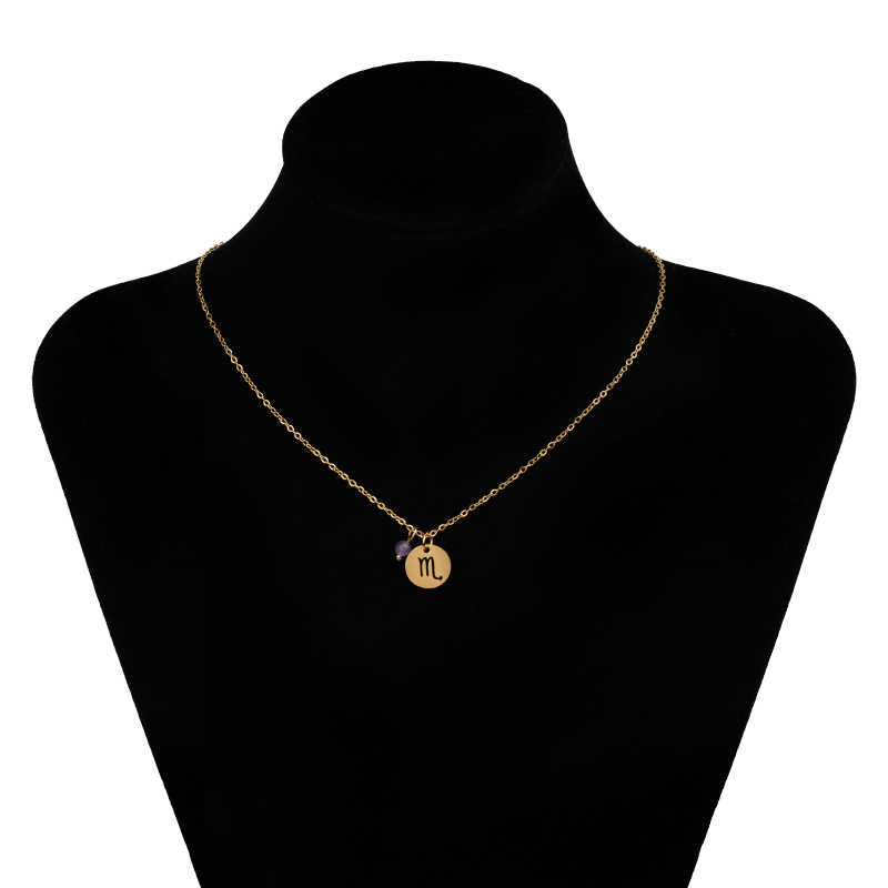 Estrela na moda signo do zodíaco 12 constellation pingente colares para mulher capricórnio leo escorpião aço inoxidável colar nks259